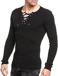 BLZ jeans - Pull homme noir uni moulant col v à lacet