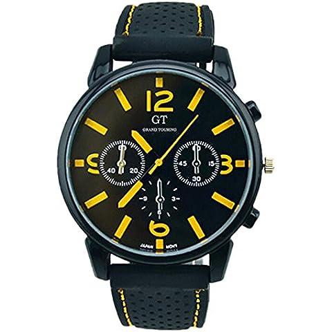 Reloj de hombre - GT Reloj de pulsera de acero inoxidable de banda de silicona de hombre Numero amarillo