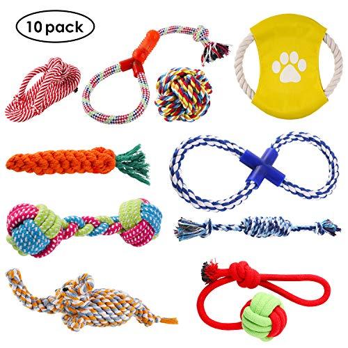 PEDY Hundespielzeug Set,interaktives Spielzeug,Pet Rope Spielzeug,mit verschiedenen Farbe und Form, geeignet für kleine und mittelgroße Hunde (10 Stück ) -