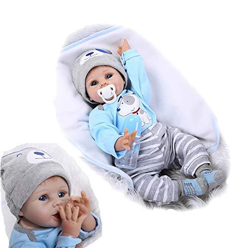 ZIYIUI Reborn Baby-Puppe 22Zoll 55cm Weiches Vinylsilikon Realistisch Baby Puppe lebensecht Reborn Baby Junge Handgemacht Neugeborene Echte Babypuppe