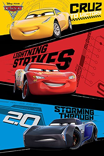 Disney Cars - 3 - Trio - Film Kino Movie Poster Plakat Druck - Größe 61x91,5 cm + 2 St Posterleisten Kunststoff 62 cm schwarz (Poster Cars 2 Movie)