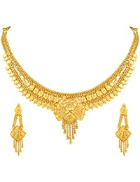 Asmitta Designer Gold Plated Choker Necklace Set For Women