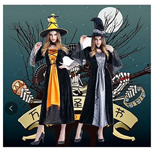 �m Hexenkostüm Erwachsenen Rollenspiel Hexe Cosplay Kostüm,Orange-OneSize ()