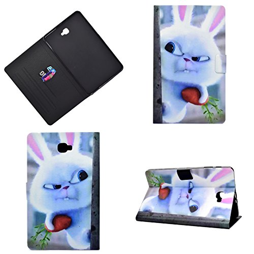 JIan Ying Samsung Galaxy Tab A6 10.1' SM-T580 T585 Housse en cuir Painted Patterns tablette Flip Cover Lapin blanc