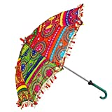 #7: Saudeep India Trading Corporation Sun Protection Rajasthani Umbrella Handicraft Walking Stick Umbrella Ethnic Handmade Embroidery Work for Indian Wedding Or Décor