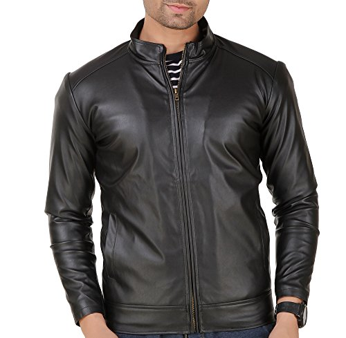 Leather Retail Men's Faux Leather Jacket, Medium(black, lr0123)