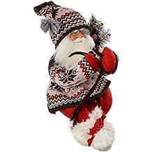 WeRChristmas - Decorazione natalizia a forma di Babbo Natale con vestito ricamato, 60 cm, colore: rosso/verde