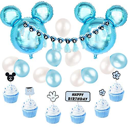 JOYMEMO Mickey Mouse Geburtstag Dekorationen blau für Jungen, Happy Birthday Banner und Mickey Cupcake Toppers für den ersten Geburtstag, Baby Shower