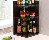 ZWL Gewürz Lagerregal, Mode Einfache Woody Küchenregal Ecke Lagerregal Multifunktions Farbe Drei Schichten Sparen Platz Größe: 30 * 30 * 60 cm , ein guter Helfer für die Küche ( Farbe : Schwarze Walnussfarbe )
