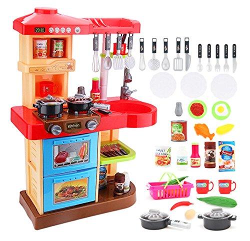 """*deAO Küchen-Spielset für Kleinkinder """"My little Chef"""", für Rollenspiele, 30 Zubehörteile, rot*"""