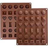 Inditradition Silicone Chocolate, Jelly, Candy and Ice Mould Tray with 30 Slots and 6 Designs (Brown, Standard)