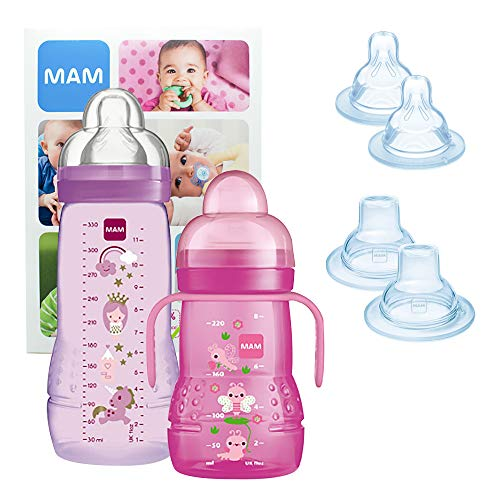 MAM Training Bottle Set, Set di accessori bimbi con 1x biberon di apprendimento Trainer (220ml) e 1x biberon Easy Active (330ml), Set biberon per 4+ mesi con fantasia, Bimba