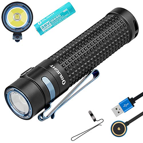 Olight S2R II Taschenlampe 1150 Lumen / 135 Meter CW LED USB Magnetische Wiederaufladbare Wasserdicht Taschenlampen, mit 18650 Batterie + BanTac Batteriefach