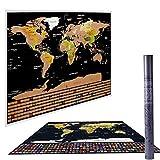 Mappa del mondo da grattare, Mappa internazionale con paesi da grattare quando viaggi, decorazione da parete per la casa, con bandiere, mappa da grattare (disegno cartografico nero Deluxe)