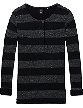 Scotch & Soda Club Nomade Bonded Long Sleeve Granddad tee, Camiseta para Mujer