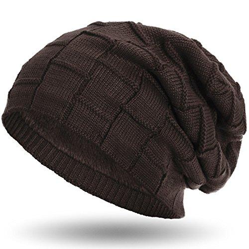 Compagno warm gefütterte Beanie Wintermütze Flechtmuster unifarben oder meliert mit weichem Fleece-Futter Mütze, Farbe:Braun