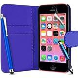 Supergets® Schlichte Einfarbige Hülle für Apple Iphone 5C / 5 C Brieftasche in Lederoptik, Schale mit Karteneinschub, Etui, Buchstil Geldbörse, Mit Schutzfolie, 2 Eingabestifte
