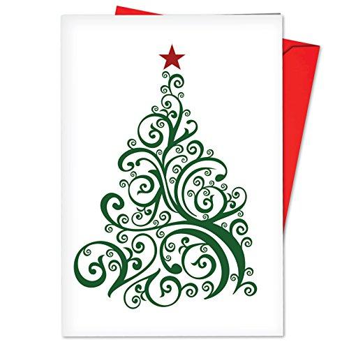 b5019dxtg Box Set 12nur Fir Sie Weihnachten Grußkarte THANK YOU Karten mit stilisierten, modischem Weihnachtsbaum Bildern, mit Umschlägen - Bild Weihnachten Karten
