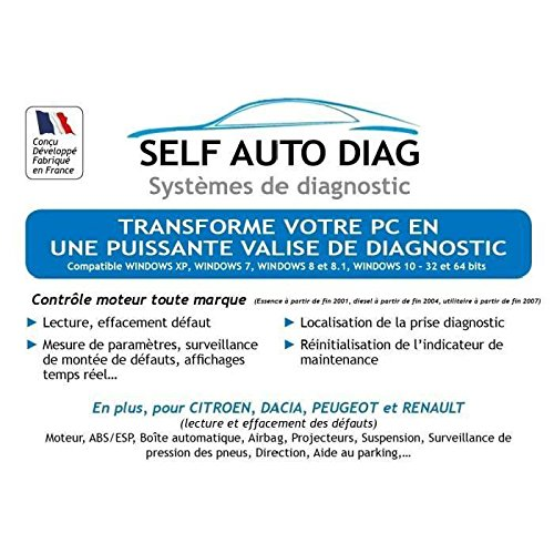 Self Auto Diag Ultimate DIAG One - Interface de Diagnostic MULTIMARQUES – Version CD-ROM - Valise diagnostique Auto multimarque...