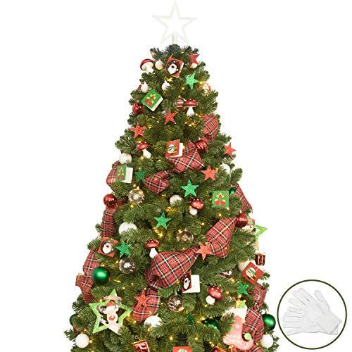 BusyBee Árbol de Navidad Artificial de 180 cm con 240 Luces LED y 121 Decoraciones navideñas para Decoraciones navideñas, incluidos los artilugios del árbol de Navidad Luces LED de Cuerda USB