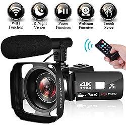 Camescope Caméscope 4K Ultra HD WiFi Camescope de Vision Nocturne à Écran Tactile de 3,0 po Caméra Vidéo avec Microphone Externe
