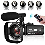 Camcorder Video Camera 4K Ultra HD WIFI Camcorder Camera 3.0″ Touch Screen Night Vision Camcorder Vlogging Camera with External Microphone