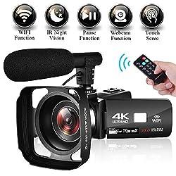 4K Camcorder ORDRO 4K Ultra HD WiFi Videokamera 12x Optischer Zoom 3,1 Zoll Pausenfunktion 1080P 60FPS Camcorder Video Camera mit Mikrofon und Weitwinkelobjektiv