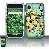 SODIAL(R) Funda Carcasa Rigida Verde para T-mobile Samsung Galaxy S Vibrant T959 / I9000, Diseno de Flores