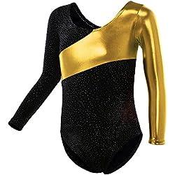 HUAANIUE Justaucorps de Gymnastique Danse Fille Leotard Combinaison Gym Esthétique Enfant ,Or,9-11 Ans(étiquette 150)