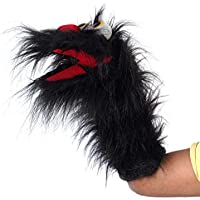 Pout Big Feathers Handmade Hand Puppet T.T Ball Fevibornd Big Feather Puppet |Black