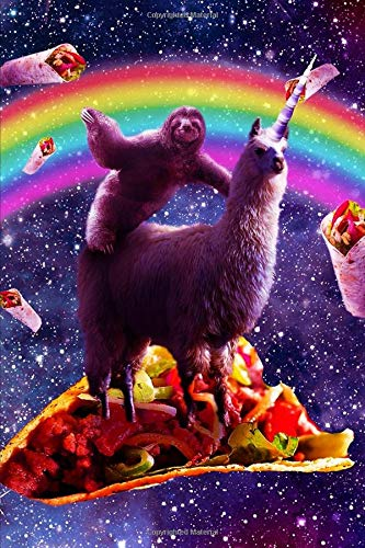Space Sloth Rides Unicorn Llama On A Taco Notebook: Journal Paper  Composition Notebook