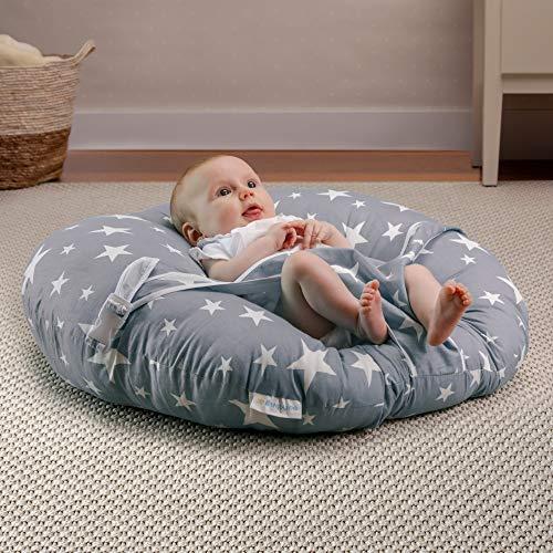 BANBALOO - Wippe für Neugeborene/Ergonomische Sofa-Wippe für Kleinkinder und Babys unter 8kg/ Ideal Montessori - Kissen für Tagesbett oder Nestbett - Transportabler Stuhl für Säuglinge (GRAUE FARBE)