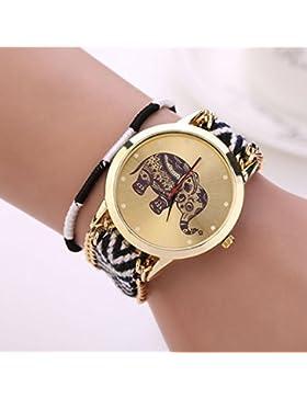 DDLBiz® Frauen-Mädchen-handgemachte gesponnen Geflochtene Elephant Bracelet Dial Quarzt beobachten
