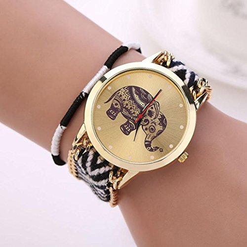 DDLBiz® Frauen-Mädchen-handgemachte gesponnen Geflochtene Elephant Bracelet Dial Quarzt beobachten (Schwarz)
