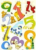 LARGE de 0 à 9 le nombre d'animaux de CARTOON 123 stickers muraux: Peel, appliquer...