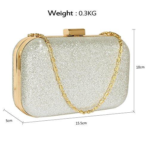 TrendStar Damen Entwerfer hart Fall Kupplungs Tasche sich beugen Kasten Abschlussball Partei Abend Handtasche Silber
