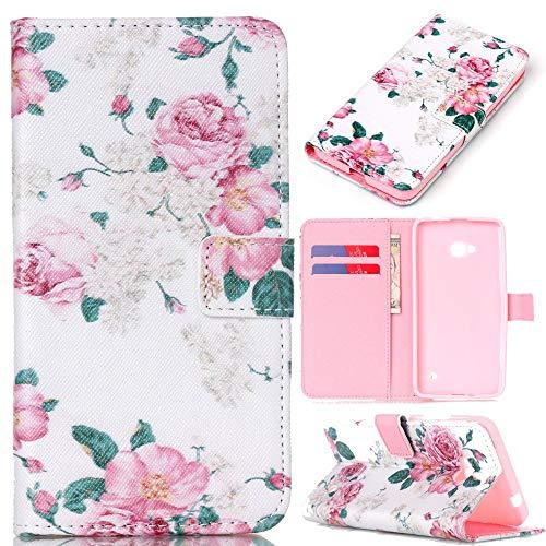 Fall + Pink Stylus Pu-Leder Geldbörse/Clutch/Tasche/Wallet Passend für Microsoft Nokia Lumia 640mit Kreditkarte Slot-Pink Rose Blume