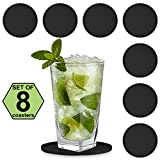 Twinz'up Rubber Silicone Drink Coasters (Set of 8 Pieces), Black