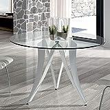 Esstisch, rund, Design Marion aus Glas und Metall, Weiß