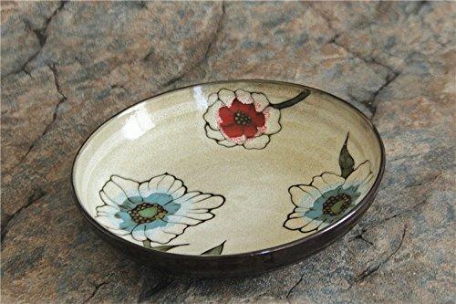 YUWANW American Ceramic Geschirr von Hand Bemalt Blumen und Variable Glasur Tiefen Teller Suppenteller Knödel Teller Salatteller, Kleine Rote Blumen (Kleines Weinblatt)