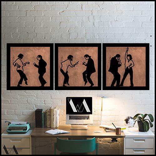 (Pulp Fiction Dance Decor – HDF Holz Klassische Filme, tanzende Wanddekoration, Heim- und Bürozimmer, Schlafzimmer, Wohnzimmer, Dekoration, Skulptur, 3D-Wand-Silhouette, Minimal Art, holz, eiche, 70x210cm)