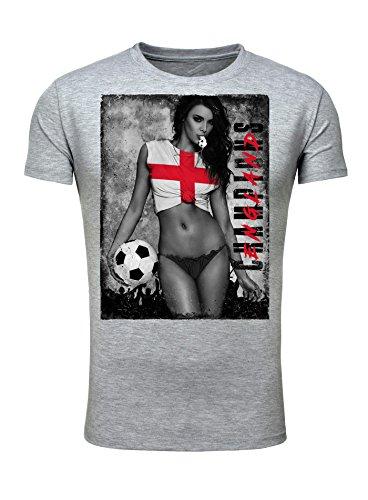 Legendary Items Herren T-Shirt WM 2018 Trikot Sexy Girl Frau Fußball Weltmeisterschaft Vintage Grau England