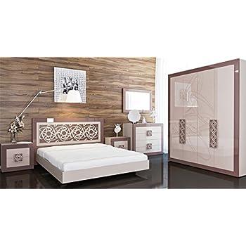 Schlafzimmer Komplett Mit Kleiderschrank 6577 Hellbraun / Cappuccino  Hochglanz