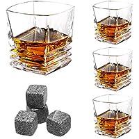 LANGRIA Juego de 4 Vasos de Whisky de Vidrio Incoloro, Estilo Tradicional y Originales Hechos