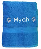 Spoilt Rotten Pets Ocean Blue Personalised Cosy Paw Travel Pet Towel For Dogs 36