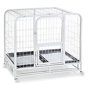 OneConcept - Cage de Transport grillagée pour Animaux : Chiens, Chats, Lapins… (104x78x102cm, Grillage métallique, bac en PVC, roulettes)