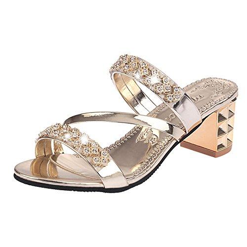 ZYUSHIZ Synthetischer Diamant Slipper kalten Felder mit Fett Frau Hausschuhe Sandalen und Hausschuhe Gold