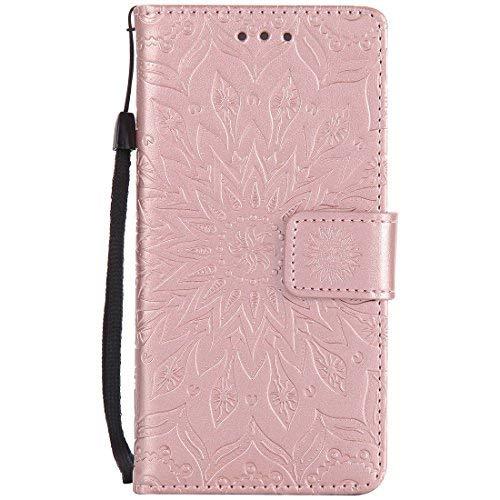 Nancen Compatible with Handyhülle Sony Xperia M2 Hülle,Leder Wallet Tasche Brieftasche Schutzhülle, Nancen Prägung Sonnenblume Muster