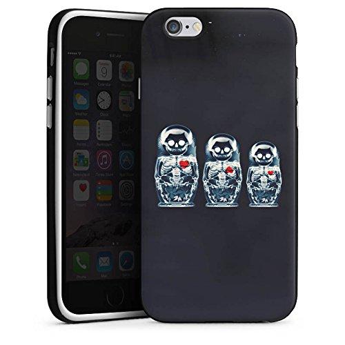 Apple iPhone X Silikon Hülle Case Schutzhülle Bones Skull Totenkopf Silikon Case schwarz / weiß
