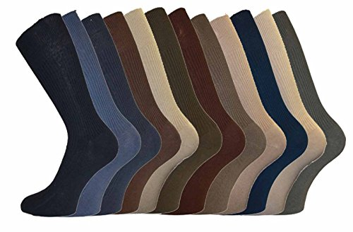 12 pairs Mens 100% Cotton Big Foot Diabetics Assorted Non-Elastic Socks, Mens Soft Top Rib Socks, size UK 11-14(BB10514A)